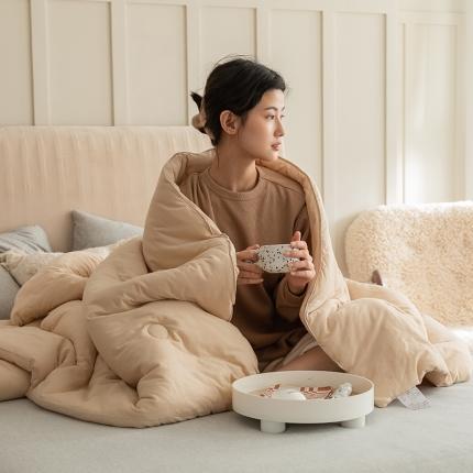 寐眠 2021新款针织棉纯色春秋被冬被 奶茶