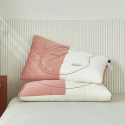 木果 优雅睡眠系列--水洗花香枕头 小熊拼接时尚枕
