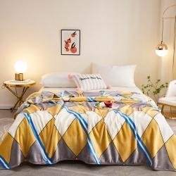 (总)坦客毯业 2021年新款印花法莱绒毛毯沙发盖毯午睡毯子