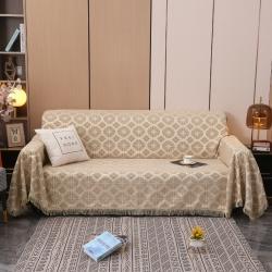 名典风情底布带硅胶颗粒防滑全盖雪尼尔沙发巾沙发套 圆圈浅咖啡
