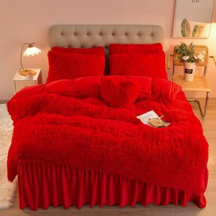 意尚风情2021新款床裙款水貂绒水晶绒长毛绒四件套 大红