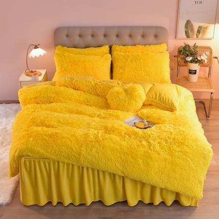 意尚风情2021新款床裙款水貂绒水晶绒长毛绒四件套 亮黄