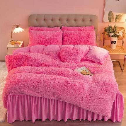意尚风情2021新款床裙款水貂绒水晶绒长毛绒四件套 深粉红