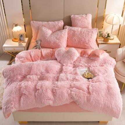 (总)意尚风情新款A版水貂绒B版加厚水晶绒四件套送爱心抱枕
