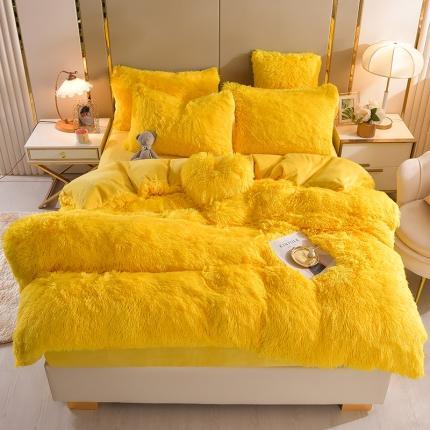 意尚风情新款A版水貂绒B版加厚水晶绒四件套送爱心抱枕 亮黄