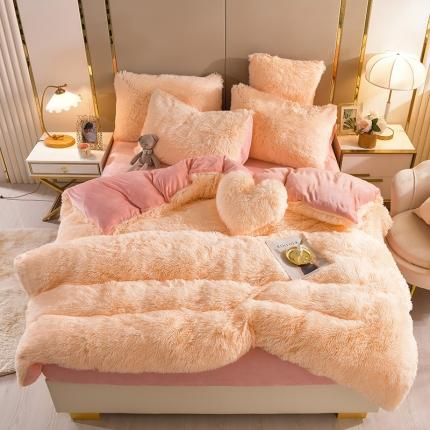意尚风情新款A版水貂绒B版加厚水晶绒四件套送爱心抱枕 米黄