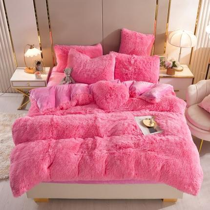 意尚风情新款A版水貂绒B版加厚水晶绒四件套送爱心抱枕 深粉红