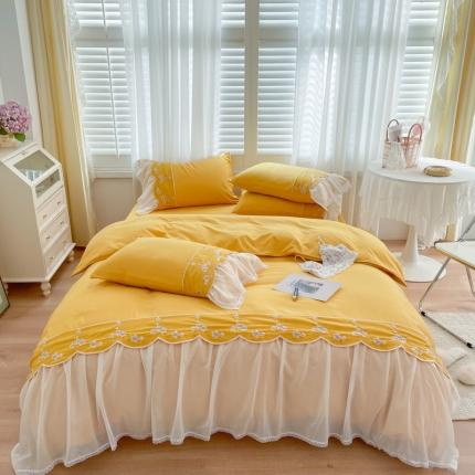 吾欢心 2021秋冬新款安妮公主风轻奢棉刺绣四件套 安妮奶油黄