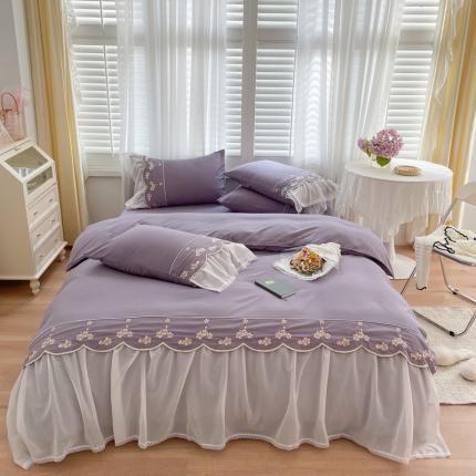 吾欢心 2021秋冬新款安妮公主风轻奢棉刺绣四件套 安妮温柔紫
