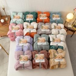 总欧邦爆款加厚马卡龙纯色羊羔绒毛毯法莱绒跨境外贸双层法莱绒毯