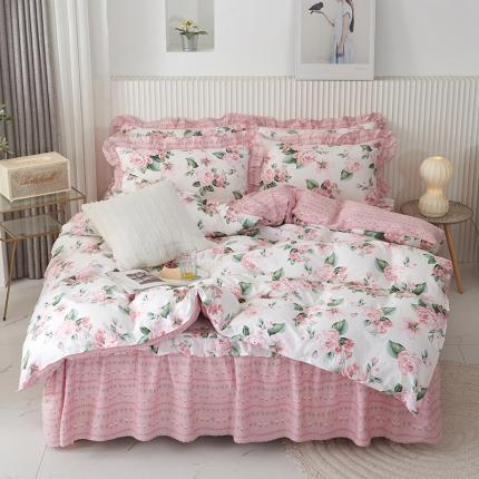爱妮玖玖套件2-1全棉韩式单层床罩配双针被套四件套 不含包装