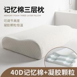(总)方略家居2021新高密慢回弹记忆棉凝胶颗粒三层枕芯枕头