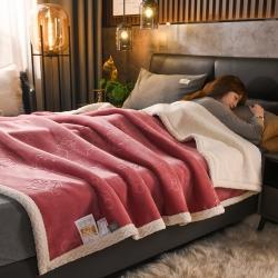 (总推)红缘坊 素色+压花+印花羊羔绒毛毯休闲毯盖毯空调毯子