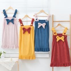 (总)韩系公主浴裙高克重纳米吸水毛巾速干浴帽+浴裙套装