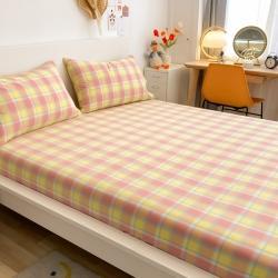 (总)艾咪 新款全棉色织水洗棉单品床单+枕套两三件套学生宿舍