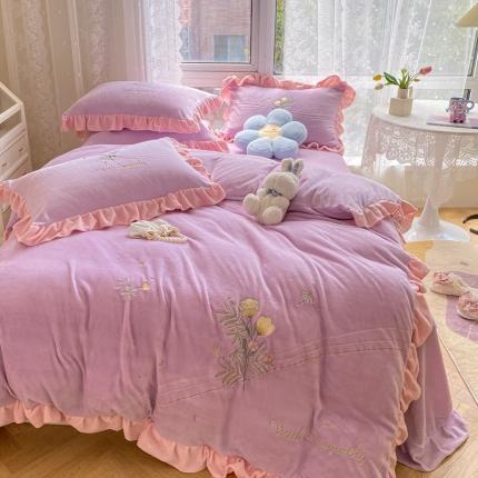 吾欢心 2021新款爱丽丝加厚牛奶绒四件套 紫