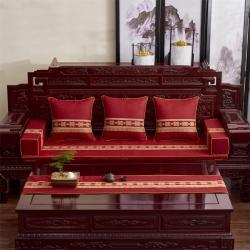(总)恋之轩 2021新款中式红木棉麻绣花沙发垫