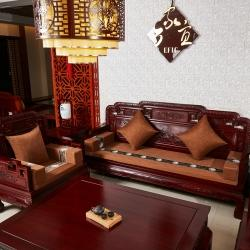 (总)锦绣家纺8 实木沙发坐垫连体座椅防滑面料加厚海绵