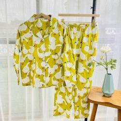 路亚 2021新款纱布大鹅睡衣 黄色