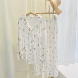 路亚 2021新款兔子开衫睡衣 白色
