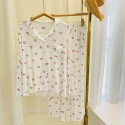 路亚 2021新款爱心开衫睡衣 白色