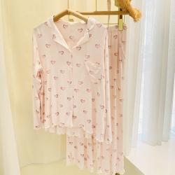 路亚 2021新款爱心开衫睡衣 粉色