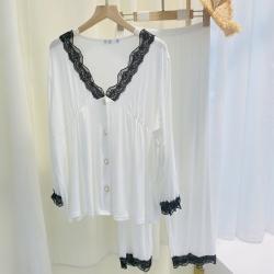 路亚 2021新款莫代尔蕾丝V领睡衣 白色