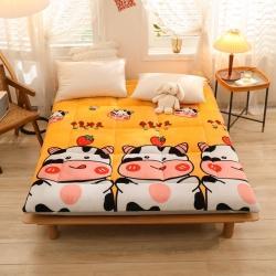 (总)富亿莱 2021牛奶绒加厚床垫法莱绒软床垫被直播折叠