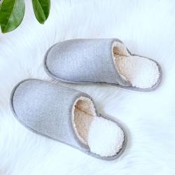 宜色家 2021新款羊羔毛秋冬防滑软底男女情侣款拖鞋 灰素色