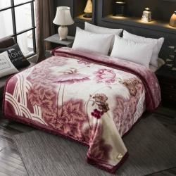丹兰家纺 双层加厚拉舍尔毛毯冬季保暖毛毯被 1293豆沙