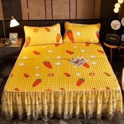 (总)米莱国际 2021新款色织水洗棉床裙纯色夹棉花边床裙床罩