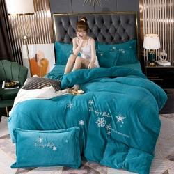 (总)雪夫人 2021新款牛奶绒刺绣四件套法莱绒水晶宝宝