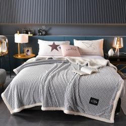 (总)佳一 2021新款剪花牛奶绒羊羔绒毛毯被套盖毯单被套