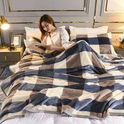 (总)鼎色 2021新双层云貂绒毛毯法莱绒牛奶盖毯子盖被