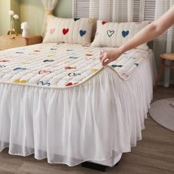 (总)眠势力 牛奶绒ins床裙单件保暖床盖裙边床单宝宝绒床罩