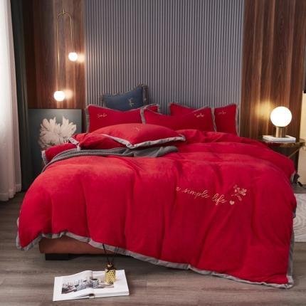 鑫帝家居 2021新款小时光-牛奶绒床单款刺绣四件套 加州红