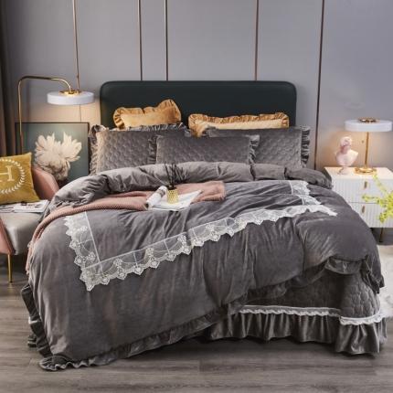 鑫帝家居 2021新款臻爱之恋-婴儿绒蕾丝床盖绗绣四件套 高级灰
