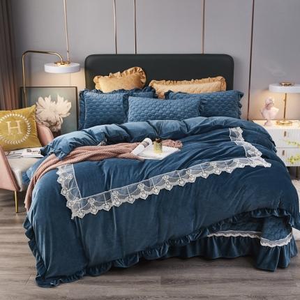 鑫帝家居 2021新款臻爱之恋-婴儿绒蕾丝床盖绗绣四件套 贵族蓝