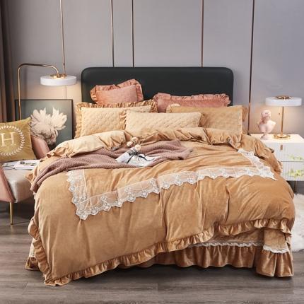 鑫帝家居 2021新款臻爱之恋-婴儿绒蕾丝床盖绗绣四件套 米驼