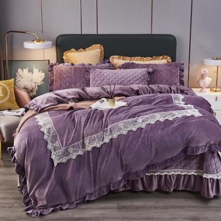 鑫帝家居 2021新款臻爱之恋-婴儿绒蕾丝床盖绗绣四件套 香芋紫