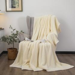 爆米花 2021新款高品质280g加厚珊瑚绒牛奶绒毛毯 ins奶白