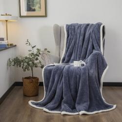 爆米花 2021新款高品质280g加厚珊瑚绒牛奶绒毛毯 宝蓝
