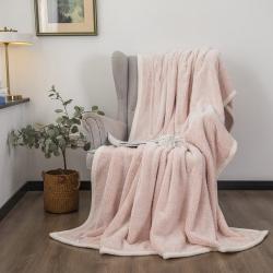 爆米花 2021新款高品质280g加厚珊瑚绒牛奶绒毛毯 戴妃粉