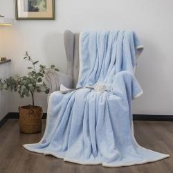 爆米花 2021新款高品质280g加厚珊瑚绒牛奶绒毛毯 天空蓝