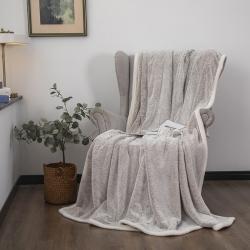 爆米花 2021新款高品质280g加厚珊瑚绒牛奶绒毛毯 珍珠灰