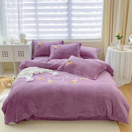 米亚210克新款牛奶绒毛巾绣四件套法莱水晶宝宝绒 花漾彩-紫
