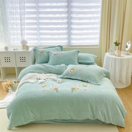 米亚新款210克牛奶绒毛巾绣四件套法莱水晶宝宝绒 花漾彩-绿