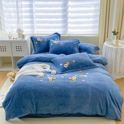 米亚新款210克牛奶绒毛巾绣四件套法莱水晶宝宝绒 花漾彩-蓝