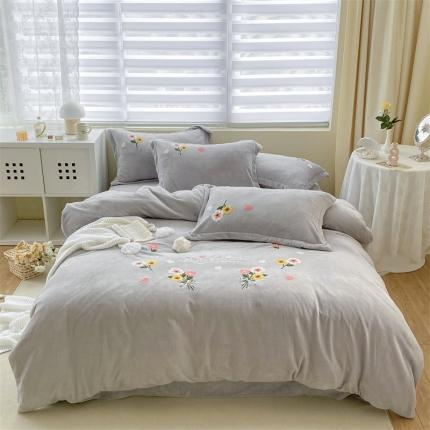 米亚新款210克牛奶绒毛巾绣四件套法莱水晶宝宝绒 花漾彩-灰