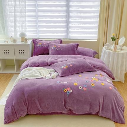 米亚新款210克牛奶绒毛巾绣四件套法莱水晶宝宝绒 花思语-紫